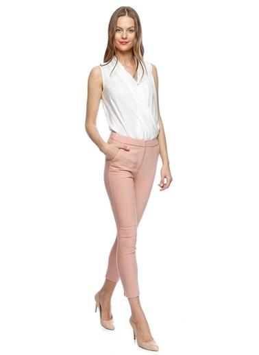 House Of Camellia Skinny Dar Paça Pantolon Somon